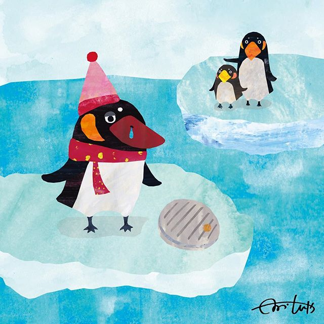 さむがりなペンギンが見つけたのは まるくてみずがはいったものでした。#illus