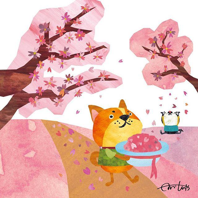 さくらあつめ 花びら集めて何しよう #illustration #Illustr