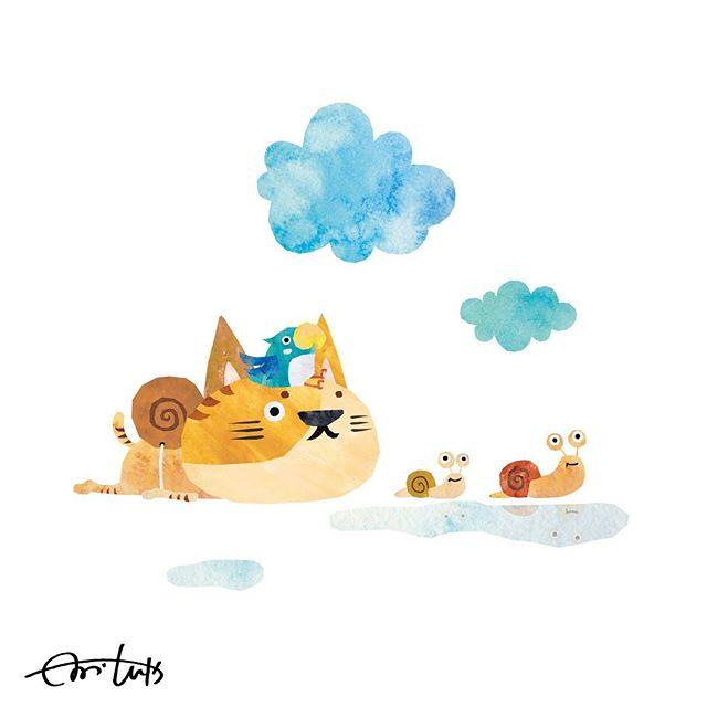 ゆっくりいくのも楽しいね♪ #illustration #illustrator