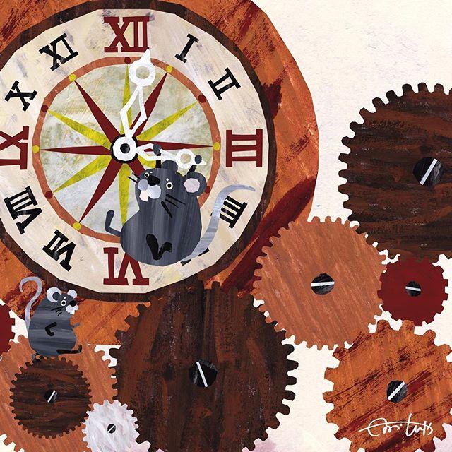 ネズミ時計 時間を早く進めておやつにしよう #illustration #Ill