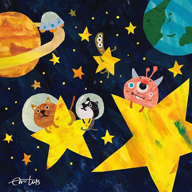 ほしのたび 星に乗って宇宙旅行 #illustration #Illustrat