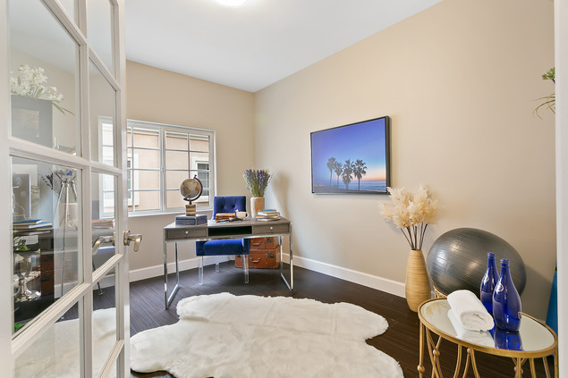 Home Office with Workout Area IDea Decor