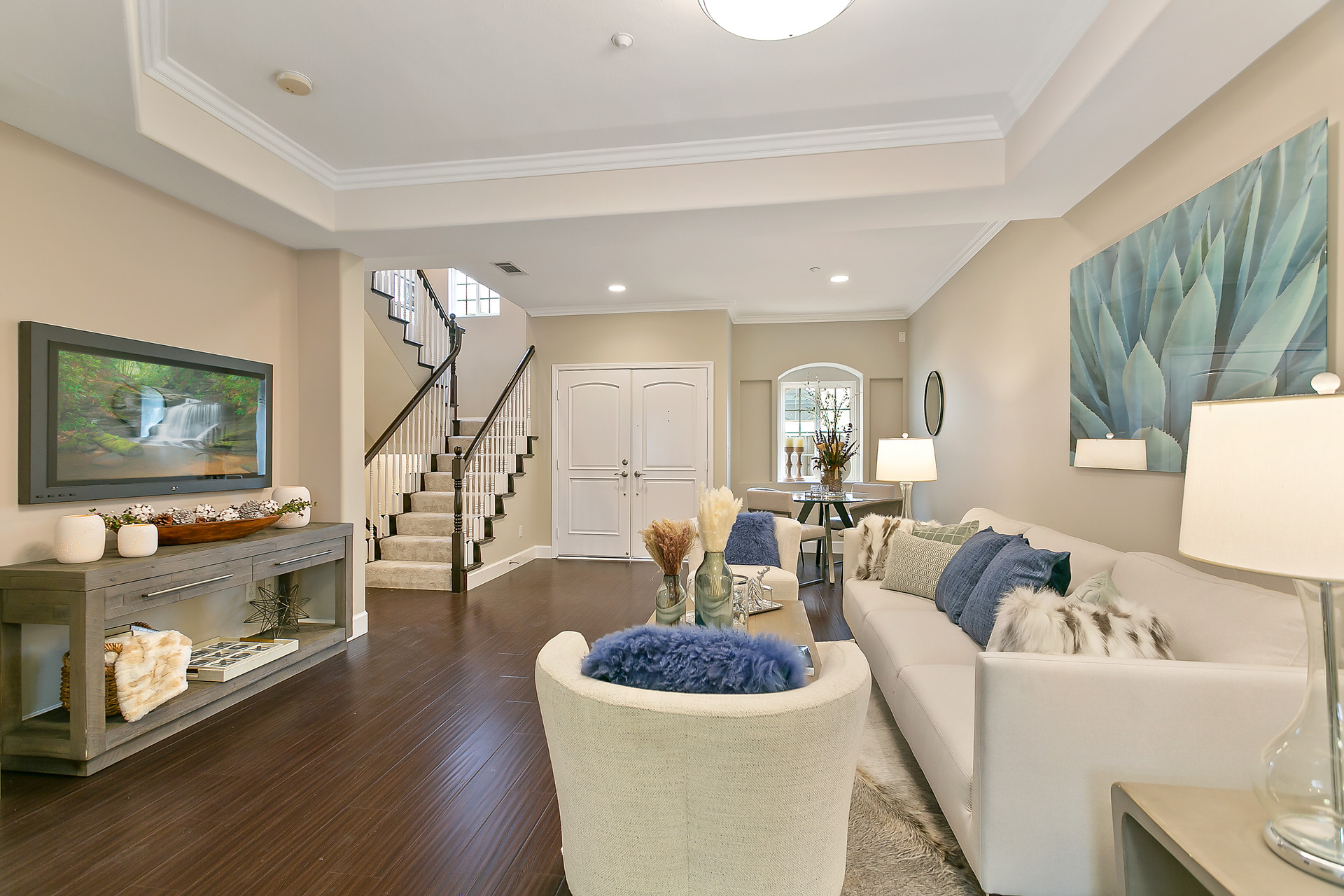 Living Room Staging with Beautiful White