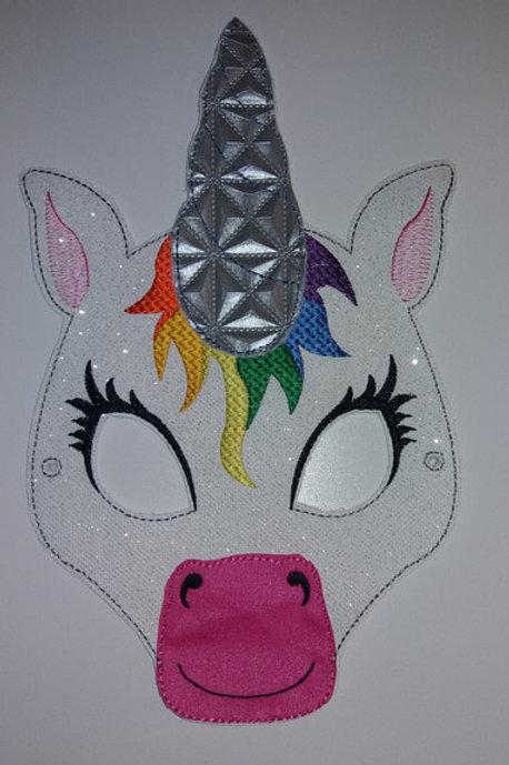 Einhorn-Maske Glitzer-Kunstleder, Einhornmaske Unicorn