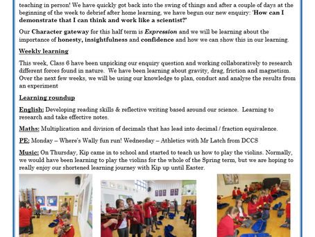 Year 6 Weekly Letter 12/03/2021