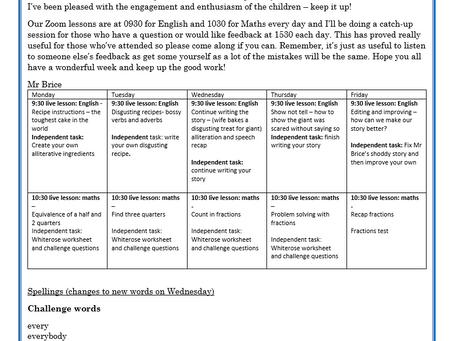 Year 2 Weekly Letter 18/01/2021