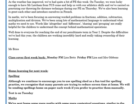Year 2 Weekly Letter 28/05/2021