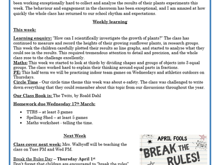 Year 3 Weekly Letter 26/03/2021
