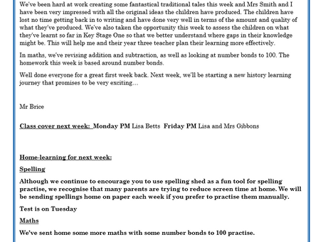 Year 2 Weekly Letter 18/06/2021
