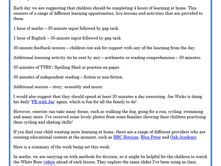 Year 4 Weekly Letter 18/01/2021
