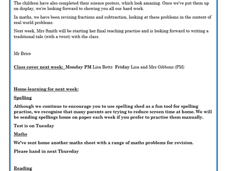 Year 2 Weekly Letter 21/05/2021