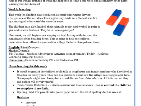 Year 4 Weekly Letter 07/05/2021