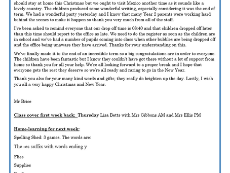 Year 2 Weekly Letter 18/12/20