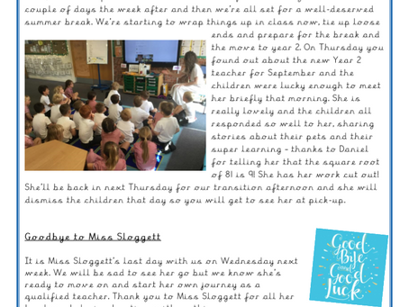 Year 1 Weekly Letter 16/07/2021