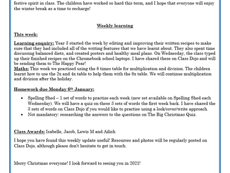 Year 3 Weekly Letter 18/12/20