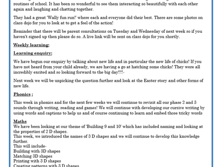 Reception Weekly Letter 12/03/2021
