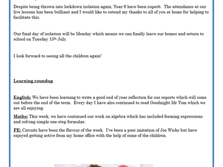 Year 6 Weekly Letter 09/07/2021