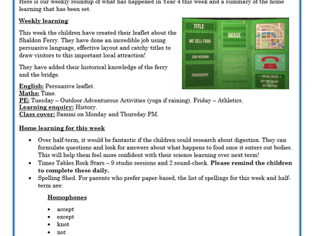 Year 4 Weekly Letter 28/05/2021