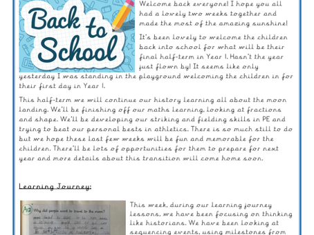 Year 1 Weekly Letter 18/06/2021