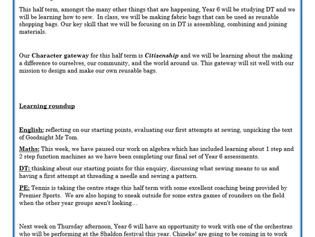 Year 6 Weekly Letter 18/06/2021