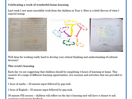 Year 4 Weekly Letter 08/02/2021