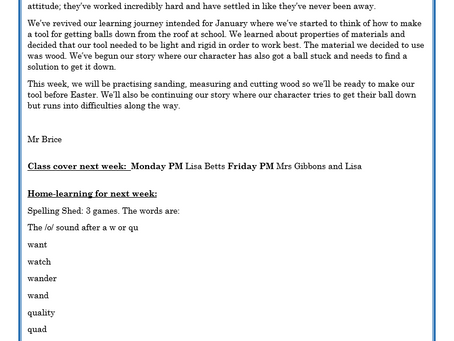 Year 2 Weekly Letter 12/03/2021