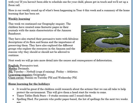 Year 4 Weekly Letter 19/03/2021