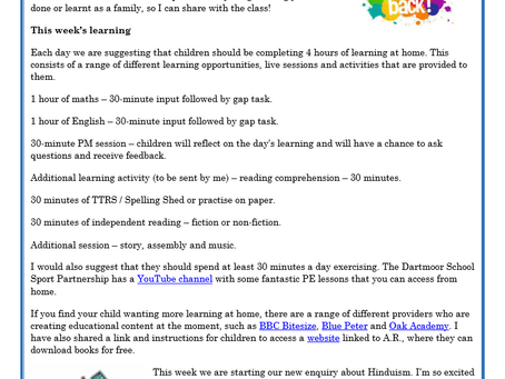 Year 4 Weekly Letter 22/02/2021