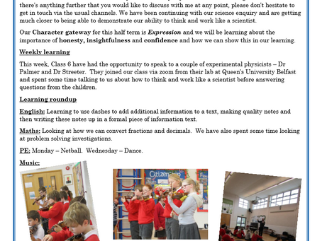 Year 6 Weekly Letter 19/03/2021