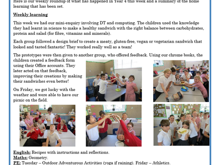 Year 4 Weekly Letter 16/07/2021