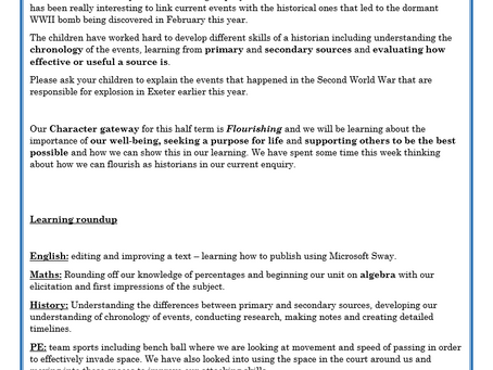 Year 6 Weekly Letter 14/05/2021