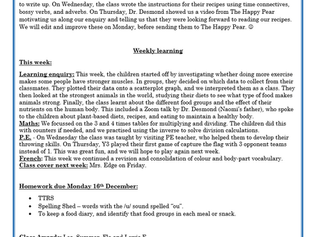 Year 3 Weekly Letter 11/12/20