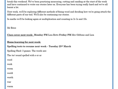 Year 2 Weekly Letter 19/03/2021