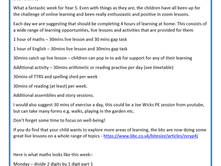 Year 5 Weekly Letter 18/01/2021