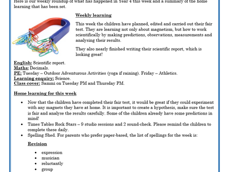 Year 4 Weekly Letter 30/04/2021