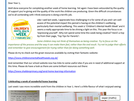 Year 1 Weekly Letter 01/02/2021