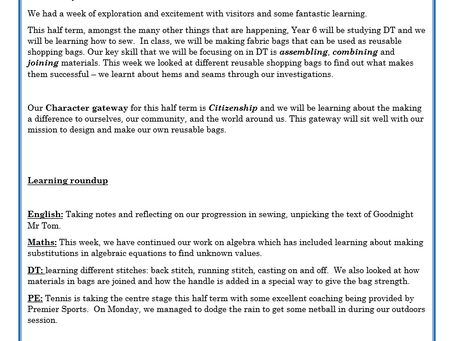 Year 6 Weekly Letter 25/06/2021