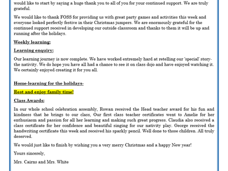 Reception Weekly Letter 18/12/20