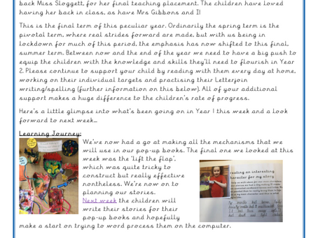 Year 1 Weekly Letter 23/04/2021