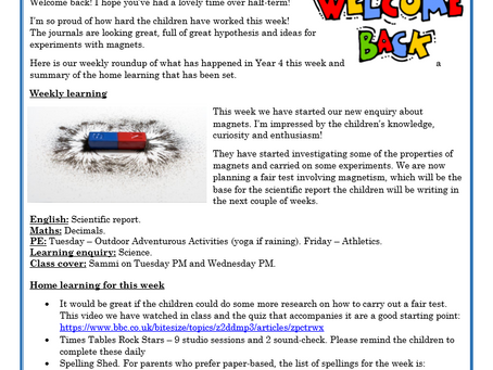 Year 4 Weekly Letter 23/04/2021