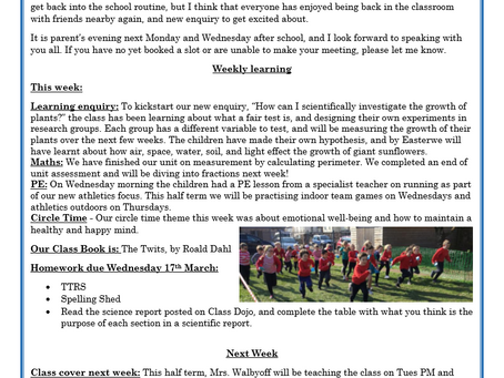 Year 3 Weekly Letter 12/03/2021
