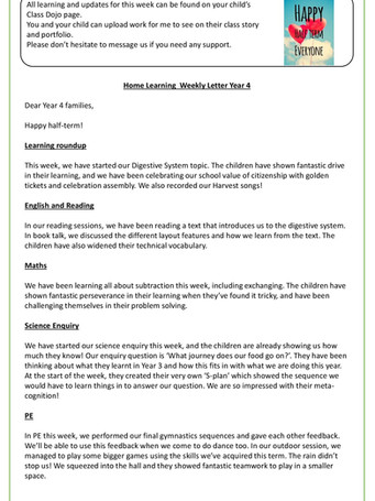 Year 4 Weekly Letter 22/10/2021
