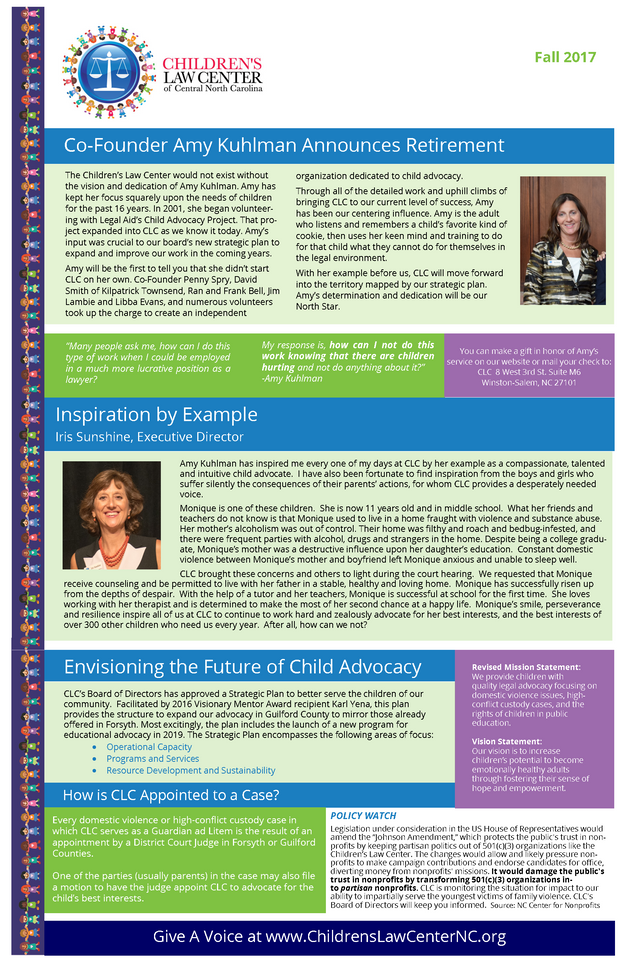Fall Newsletter- Get Inspired- Amy Kuhlman to Retire