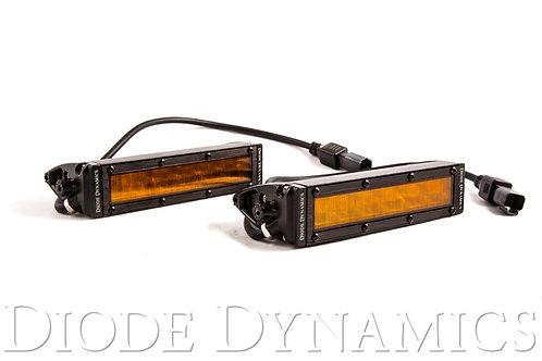 6 Inch LED Light Bar Single Row Straight SS6 Amber Wide Light Bar Pair