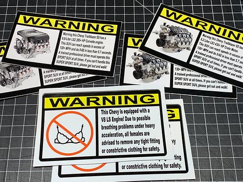 Visor Warning Stickers