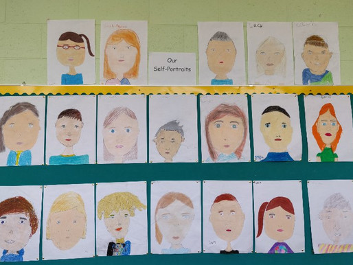 5th class self portraits. Earlier in the year we drew self portraits. Take a look...