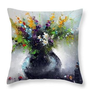 """Подушка """"Цветы с голубой стрекозой"""