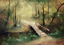Осенний пейзаж с мостиком