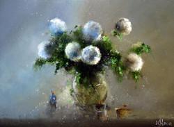 Букет из цветов с шарообразными соцветия
