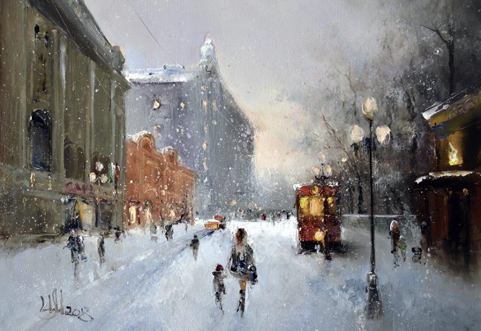 На Арбате снегопад